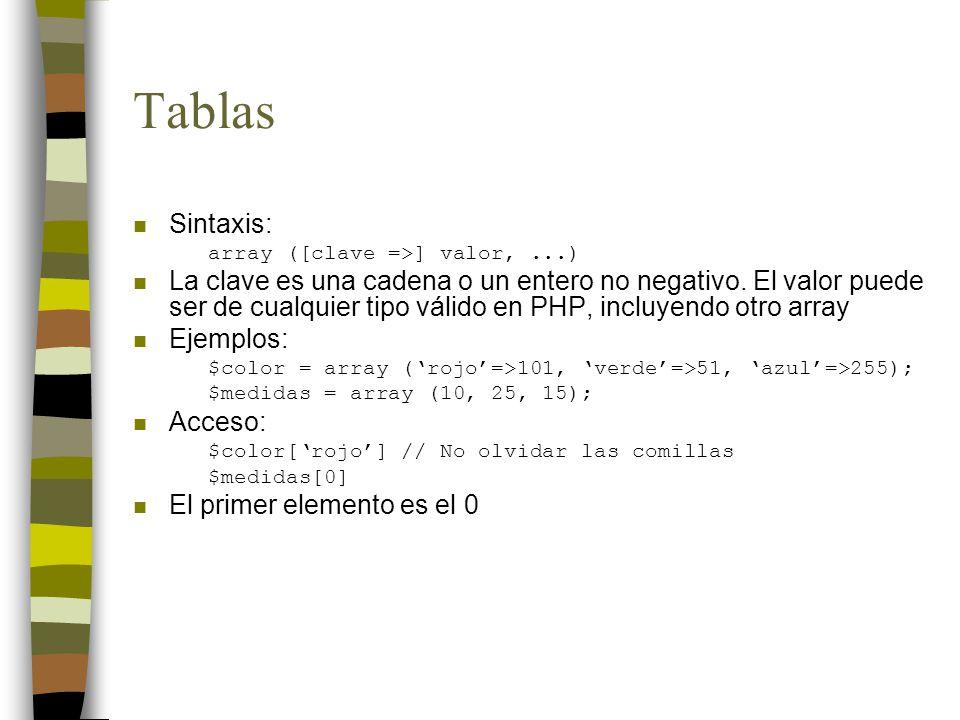 Tablas Sintaxis: array ([clave =>] valor, ...)